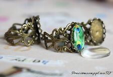 5 Antique bronze adjustable ring blanks filigree with 10x14mm cameo setting diy