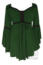 Gothic OPHELIA Stretch Corset Style Top GREEN ENVY Sizes 10/12 to 26/28