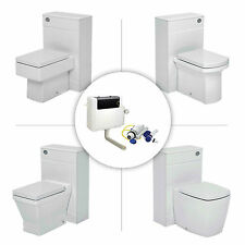 BACK TO WALL TOILET CONCEALED CISTERN PAN CERAMIC WHITE SOFT CLOSING SEAT