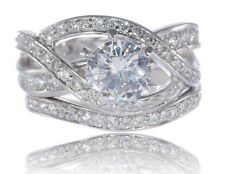 Sterling Silver 925 Infinity Celtic Brilliant Cut CZ Wedding Engagement Ring Set