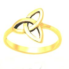14k Yellow Gold Mens Or Womens Irish Celtic Ring Genuine 925 Sterling Silver