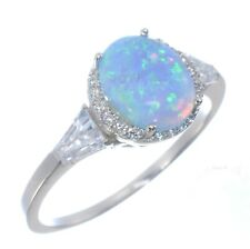 Large Oval Light Blue Moon Fire Opal Clear CZ Sterling Silver Ring Size 4 - 12