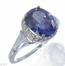 White Gold Large Sterling Silver Oval Cut Tanzanite and Baguette Cut CZ Ring