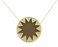 House of Harlow 1960 Pave Leather Sunburst Pendant Necklace Khaki  BNWT RRP $94