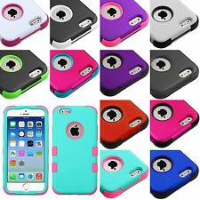 For iPhone 6 6S - Hard&Soft Rubber Hybrid Armor Skin Case Cover TUFF Heavy Duty