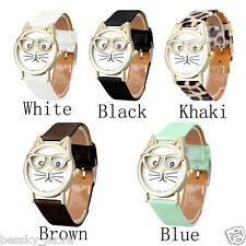 Women Girls Wristwatch Analog Glasses Cat Dial Quartz Watch Leather Casual WATCH