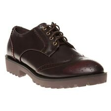 New Womens SOLE Maroon Sybil Synthetic Shoes Brogue Lace Up