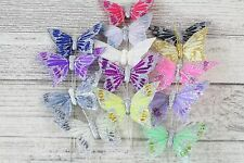 12 Medium Real Feather Butterflies Butterfly On Florist Wire Wedding Cakes 7cm