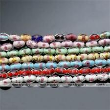 1 Strand Fashion Lampwork Glass Flower Oval Foil Loose Bead Jewelry Findings DIY