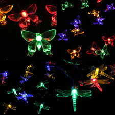 20 LEDS Dragonfly Butterfly Solar Fairy Light String Xmas Party Decor Waterproof