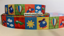 Grosgrain Ribbon, Hot Air Balloons Airplanes Helicopters Clouds Sunshine, 7/8""