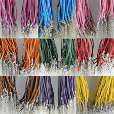 20pcs Solid Lobster Clasp Genuine Leather Cord Necklace 2.0mm 10Colors U Pick