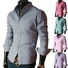 Men's Long Sleeved button-front new Casual Formal Business Slim Fit Dress Shirts