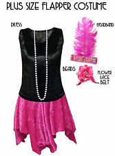 Black / Pink Roaring 20's PLUS SIZE Flapper Dress Halloween Costume 1x to 8x