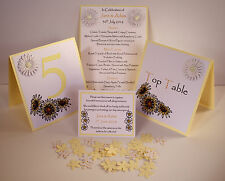 Handmade DAISY wedding :TABLE DECORATION Stationery;5 designs/60 colours/any qty