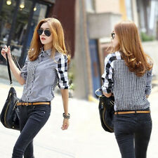 New Fashion Women's Long Sleeve Tops Lady Casual Shirt Vintage Blouse Size S-2XL