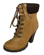 ROUGE! Women's Military Padded Cuff Lace Up High Heel Stacked Heel Ankle Bootie