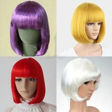 New Women's Fashion Full Bangs Short Straight Wig BOBO Cosplay Party Full Wigs