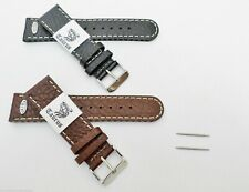 Taurus® Air Breathable Genuine Leather Watch Band Black Brown 18mm 20mm 22mm