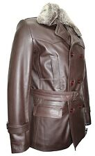 Mens Kriegsmarine German Pea Coat Brown Hide Leather Winter Fur Collar Jacket