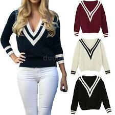 New Womens Casual Jumper V Neck Long Sleeve Pullover Tops Knitted Sweater Q1UC