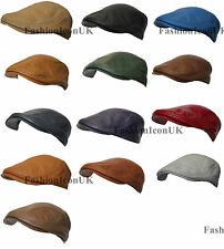 Mens Ivy Cap GENUINE Leather Bunnet Newsboy Beret Cabbie Gatsby Flat Golf Hat