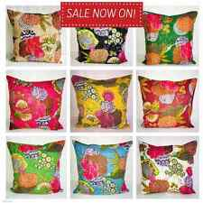 Indian Floor Pillow Cotton Floral Kantha Cushion Cover Embroidery Handmade 40x40