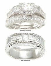 925 Sterling Silver Princess Cut CZ His Hers Engagement Wedding Ring 3 Pc Set