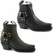 UNISEX GRINDERS COWBOY LEATHER ANKLE BOOTS SIZE UK 4 - 12 BLACK BROWN HARNESS LO