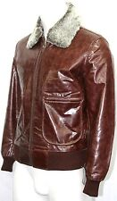 Men's New Winter Brown Glazed Genuine Leather Fur Collar Bomber Air Force Jacket