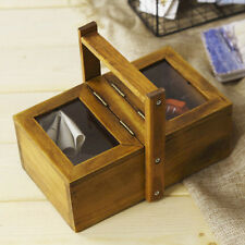 Handmade Rustic Solid Wood Jewelry Display Box With Clear Glass Top & Handle