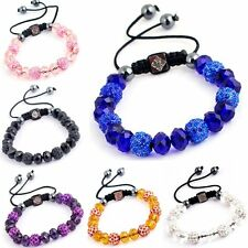 Stylish Women Czech Crystal Adjustable Braided Rope Hip Hop Ball Bracelet Bangle