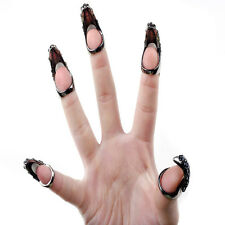 Punk Cool Rock Eagle Claw Crystal Rhinestones Finger Nail Hook Ring Jewellery