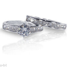 Brilliant White Sapphire - Princess Detail Sterling Engagement Wedding Ring Set