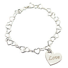 Solid Sterling Silver Light Heart Link Bracelet With Personalised Heart Charm