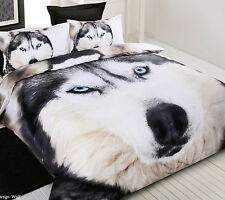 Photoreal Wolf Husky Dog Contemporary Single Double Queen King Quilt Cover Set