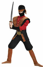 Ninja Warrior Muscle Child Costume Black Red Jumpsuit Boys Disguise Halloween