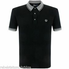 FRED PERRY T-Shirt Men's Checkerboard Trim Knitted Polo K6220 Black Sizes: S & M