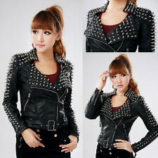 New Women's Punk Rock Spike Studded Motorcycle PU Leather Cropped Jacket Coat sg