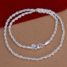Xmas Gift!Wholesale New Fashion Sterling1 Silver 4MM Twisted Rope Necklace