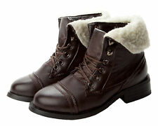 NEW GIRLS BROWN FUR CUFF MILITARY LACE UP ANKLE BOOTS KIDS UK SIZE 10-5