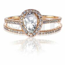 14k Rose Gold White Sapphire Pear Clear CZ Engagement Sterling Silver Ring Set