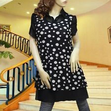 BLACK/WHITE POLKA DOT PRINCESS SLEEVES DRESS/TUNIC TOP #1853 SIZE M L XL XXL