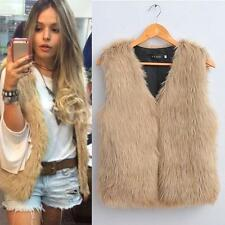 Women Winter Warm Vest Sleeveless Faux Fur Outerwear Coat Waistcoat Jacket New