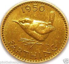 United Kingdom - British 1950 Farthing Coin - Wren Coin - King George VI