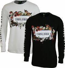 "NEW MENS CRIMINAL DAMAGE T-SHIRT ""Array"" Long Sleeve Graphic Designer Tshirt"