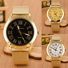Mens Geneva Watch Roman Numerals Mesh Stainless Steel Quartz Analog Wrist Watch