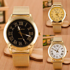 Mens Watch Roman Numerals Mesh Stainless Steel Quartz Analog Wrist Watch