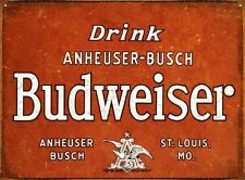 New Drink Budweiser The King Of Beers Metal Tin Sign