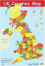 New UK Counties Map Educational Map Mini Poster